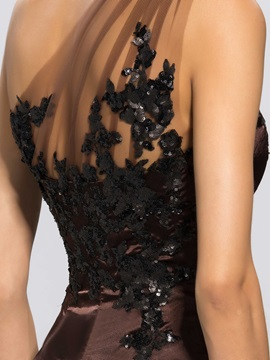 One-Shoulder Mermaid Appliques Split-Front Long Evening Dress