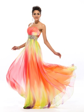 Colourful Sweetheart Beading Long Prom Dress Designed