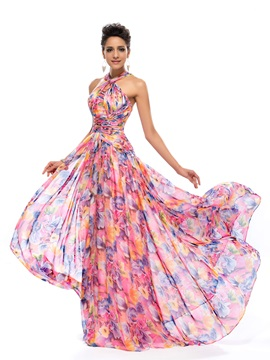 Stylish A-line Halter Pleats Floral Printed Prom Dress Designed