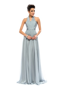 A-Line Ruched Floor-Length Evening Dress Designed