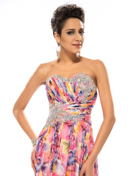 Eye-catching Sweetheart Beading Printing A-Line Long Prom Dress