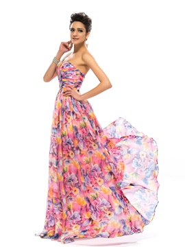 Strapless Pleats Floral Printing Long Prom Dress Designed