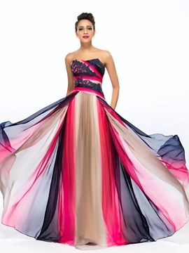 A-Line Strapless Appliques Printing Long Prom Dress