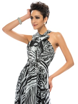 Great A-Line Bowknot Halter Printing Long Evening Dress