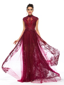 Vintage A-Line High Neck Appliques Lace Long Evening Dress Designed