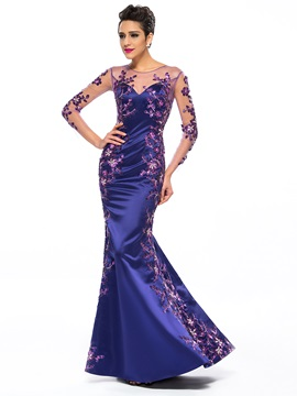 Great Mermaid Appliques Long Sleeves Floor-Length Evening Dress