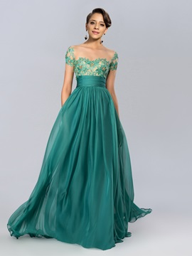 A-line Tulle Neckline Appliques Beading Short Sleeves Evening Dress Designed & attractive Designer Dresses