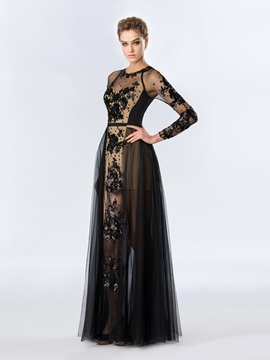 Jewel Neck Sequins Appliques Long Sleeves Long Evening Dress