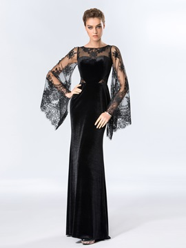 Ladylike Bateau Neckline Lace Long Sleeves Evening Dress Designed & Designer Dresses for sale