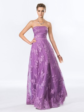 Timeless Strapless Lace A-Line Floor-Length Evening Dress Designed & romantic Designer Dresses