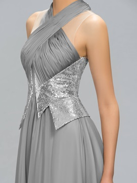 Halter Ruched Sequins Long Evening Dress Designed