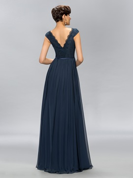 Simple V-Neck Lace Cap Sleeves Long Evening Dress Designed