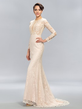 Sheath Jewel Neck Lace Long Sleeves Sweep Train Evening Dress Designed