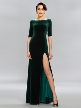 Bateau Velvet Half Sleeves Beading Evening Dress & formal Designer Dresses