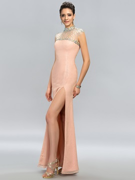 High Neck Beading Sequins Split-Front Evening Dress Designed