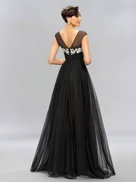 Timeless A-Line Bateau Neck Appliques Long Evening Dress Designed