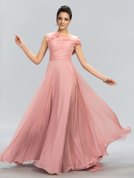 Stunning Tulle Neckline Flower Long Prom Dress Designed & discount Designer Dresses