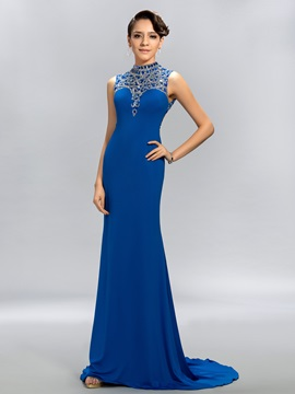 Shining Sheath High-Neck Sequins Backless Long Evening Dress
