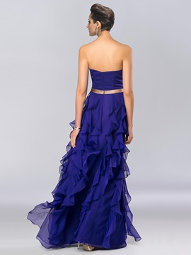 Classy Strapless Appliques Ruffles Long Evening Dress Designed
