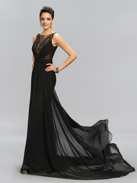 Super Scoop Neck Embroidery Beading A-Line Long Evening Dress Designed