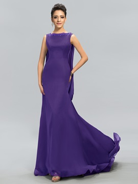 Bateau Neck Appliques Mermaid Long Evening Dress Designed & Designer Dresses on sale