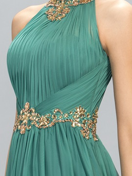 Elegant Jewel Neck Beading Pleats Evening Dress