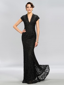 Vintage V-Neck Cap Sleeves Lace Long Evening Dress Designed & Designer Dresses for less