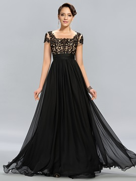 Vintage Tulle Neck Appliques Short Sleeves Long Evening Dress Designed & casual Designer Dresses