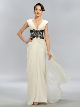 Simple A-Line V-Neck Appliques Long Evening Dress Designed & quality Designer Dresses