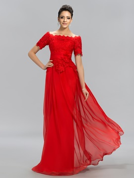 Off-the-Shoulder Lace Long Evening Dress Designed