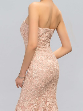 Timeless Strapless Lace Long Evening Dress Designed
