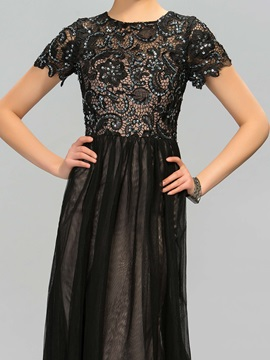 Glorious Short Sleeves Beaded Lace Long Evening Dress Designed
