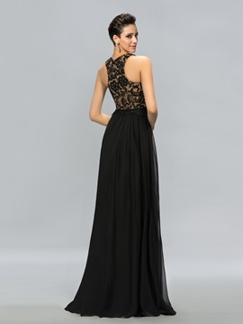 Elegant Jewel Neck Lace Sequins Long Evening Dress Designed