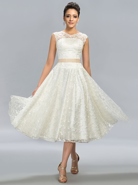 Unique A-Line Lace Button Tea-Length Prom Dress Designed & Designer Dresses under 100