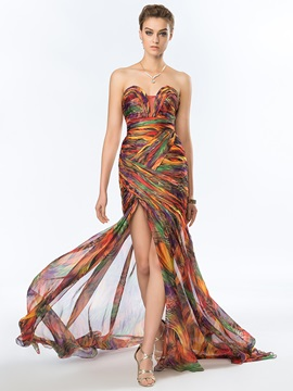 Timeless Sweetheart Printed Split Front Long Evening Dress Designed & Designer Dresses for less