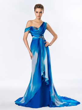 Chic One-Shoulder Draped Appliques Beading Long Evening Dress Designed & fashion Designer Dresses
