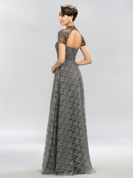 Vintage High Neck Lace Short Sleeves Long Evening Dress Designed