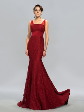 Timeless Straps Lace Mermaid Court Train Long Evening Dress Designed