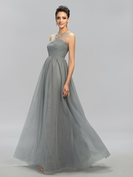 Simple Style Ruched Bateau Neck A-line Floor-Length Evening Dress Designed