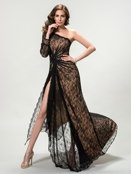 Sensual One Shoulder Split-Front Lace Long Sleeve Long Evening Dress Designed