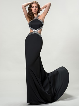 Halter Criss-Cross Sequins Long Evening Dress Designed