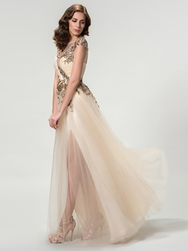 Scoop A-Line Sequined Appliques Long Evening Dress Designed