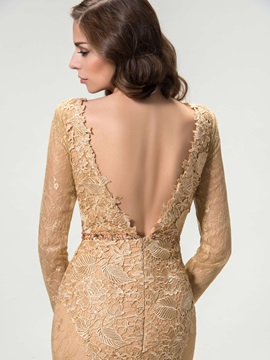 Bateau Neck Long Sleeve Mermaid Lace Evening Dress Designed