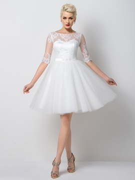 Fancy Bateau Neck Half Sleeves Lace Sashes A-Line Knee-Length Prom Dress Designed & Designer Dresses under 300
