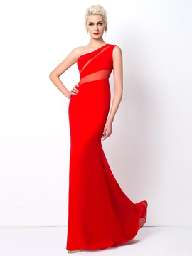Modest Sheath One-Shoulder Sweep Train Long Evening Dress Designed