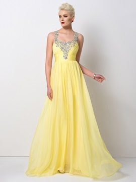 Stunning Beaded Straps A-Line Long Prom Dress Designed