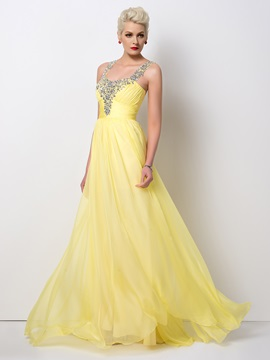 Stunning Beaded Straps A-Line Long Prom Dress Designed & colorful Designer Dresses