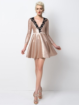 Modern V-Neck Sequins Appliques Short Cocktail Dress Designed & unique Designer Dresses