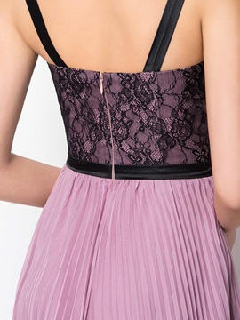 Timeless Straps Lace A-Line Pleats Long Evening Dress