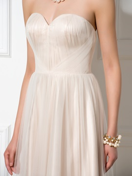 Pretty Sweetheart A-Line Appliques Long Tulle Evening Dress